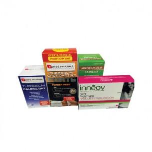 Pack ahorro TurboSlim Cronoactive FORTE 56 + Inneov Estabilización + Calorilight 60 cápsulas + Camilina